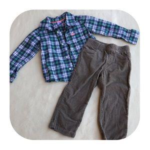 6/$15 24M Carter's plaid shirt & corduroys